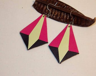 Stainless steel triangle leather earrings