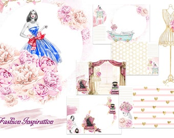 Fashion Inspiration - watercolor album pages