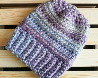 Toddler Winter Hat, Purple/Blue, 1-2 years, wool blend