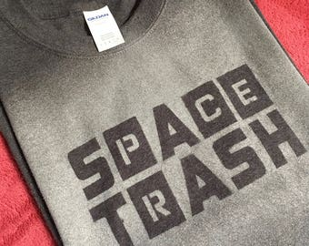 Hand made gray Space Trash t shirt, mens large, 50/50 cotton poly blend