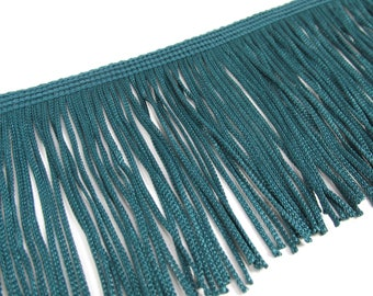 Teal 3 Inch Polyester Fringed Chainette Trim
