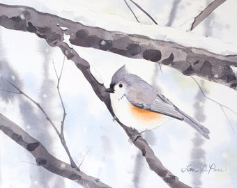 Titmouse Watercolor Print from an Original Painting by Laura Poss- Two sizes- 5 x 7 inches and 8 x 10 inches- Winter Bird Art, Snow, Giclee