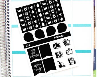 Salt & Pepper Checklists/Functional Planner Stickers - For use with Erin Condren Vertical Lifeplanner // L24