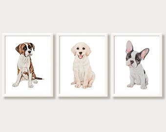 Dog Nursery Wall Art Paintings of Dogs Watercolor Dog Decor Boxer French Bulldog Labrador Golden Retriever Dog Gifts Puppy Art Prints Set 3