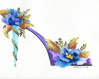 Original Watercolor Painting Peonies Flower Art Shoe Art Stiletto High Heels Pumps Fashion Art Modern Contemporary Elena