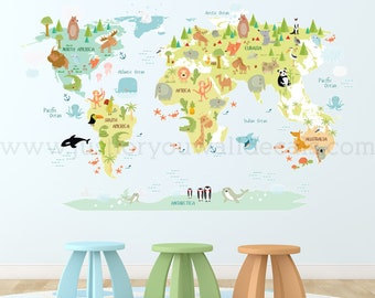 Animal wall art etsy map of world wall decal kids map wall decal map wall decal map gumiabroncs Image collections