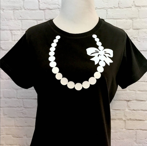 Necklace with Pearls and Bow T-shirt for Women Pictured in Black with White Necklace