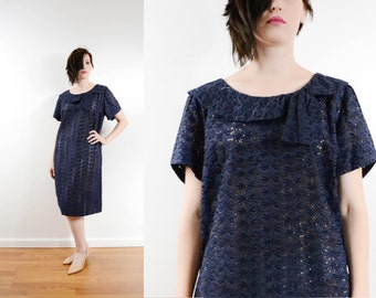 60s Navy Blue Eyelet Lace Mod Dress Boat neck See Through Shift Dress Casual Mad Men // Small Medium