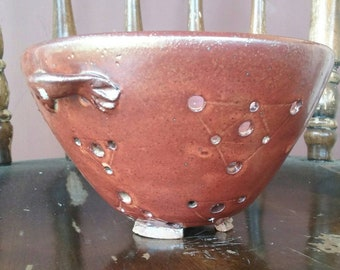 Handmade Berry Bowl Colander With Triangle Design In Golden Orange