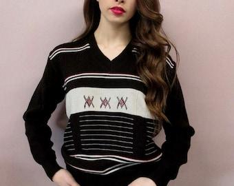 Vintage 70s Tribal Knit Sweater //1970s sweater pullover hippie hippy southwestern bohemian