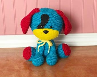 Domino the dog, amigurumi puppy, crochet puppy, ready to ship, cute puppy, birthday puppy