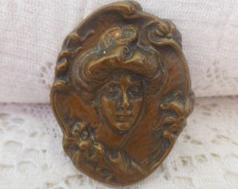 Authentic 1800s Victorian Gibson Girl Brooch~Early C Clasp
