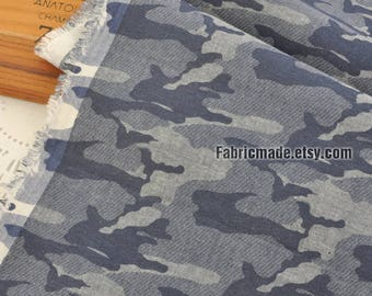 Camouflage Cotton Fabric, Denim Blue Brown Camouflage Fabric-1/2 yard