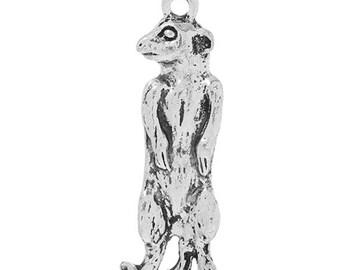 5 Meerkat Animal Fur Antique Silver Charms Pendant 13mm x 36mm (307)