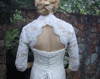 Wedding bolero, lace bolero, wedding jacket, bridal bolero, White lace bolero, 3/4 sleeve, keyhole back, alencon lace