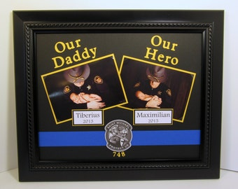 Our Daddy Our Hero 11x14 Picture Frame - Personalized Police Thin Blue Line St. Michael - 11x14 Frame Included - You Choose Frame color