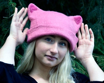 Pink Pussyhat Pussy Cat Hat,Feminist Hat  Pink Pussy Hat, Felt Pussycat Hat,Women's Rights Hat,Pink Cat Hat,Women's March Hat
