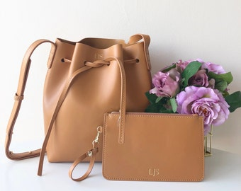 PERSONALISED MONOGRAMMED Genuine Smooth Leather Women's Bucket Bag in Tan