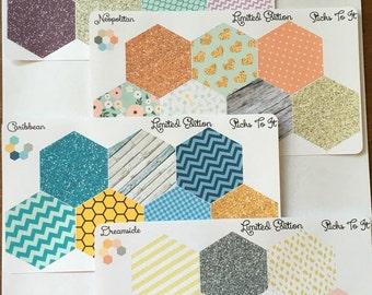 Limited Edition Inkwell Press Hexagon Stickers for Dashboards ECLP Mambi Filofax Kikki K Happy Life Planner