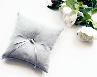 Ring Bearer Pillow - Grey Minimal Ring Pillow - Ring Pillow Wedding - Ring Cushion - Wedding Pillow - Ring Bearer - Wedding Decorations