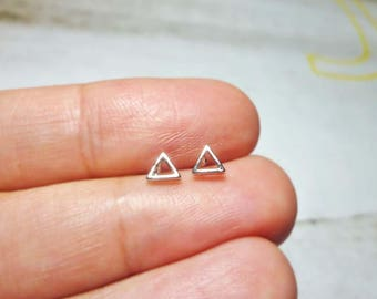 Tiny Open Triangle Stud Earrings, Dainty Triangle Earrings