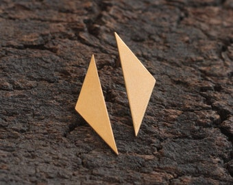 Triangle Posts, Matte Gold Plated Geometric Earrings, Golden Triangle Studs, Birthday Gift for Women, Everyday Earrings, Triangular Earrings