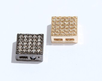 9mm Pave Square Charm, Micro Pave Square Charm, Pave Square Bead, Square Bead, Square, CZ Square Charm, ZRC55