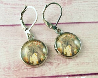 Elephant earrings, cameo pendant earrings, glass cabochon, boho