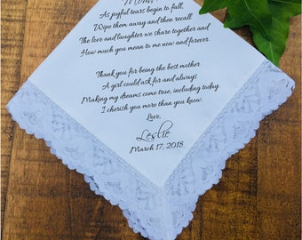 Mother of the Bride Gift From Bride, From Daughter, Mother of the Bride Gift Handkerchief, Wedding Handkerchief, PRINTED Hankie  (H 038)