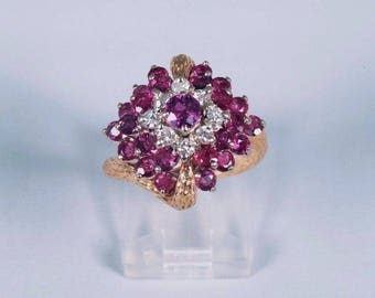 Circa 1960s 18K Yellow Gold Ruby and Diamond Ring, size 6