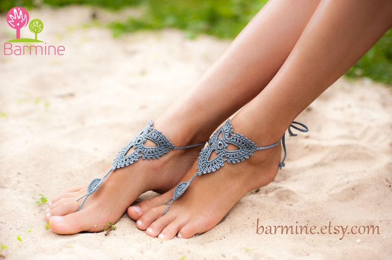 Grey Crochet Barefoot Sandals Nude shoes Foot jewelry