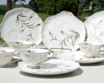 Lefton China White with Gold Leaf Cattails 6 Dinner Plates with Cup Holders 4 Cups Serving Dinner Sets Serveware Tableware