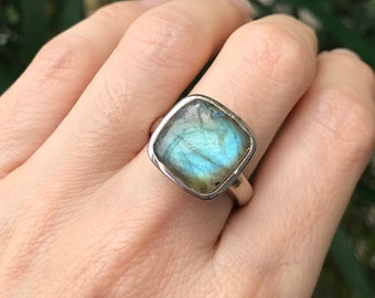 Labradorite Ring Gold Rose Gold Sterling Silver Square Gemstone Iridescent Boho Ring All Sizes 9 10 Simple Statement