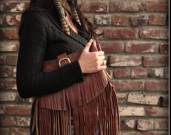 Beautiful Handmade Leather Fringe Clutch