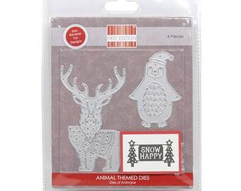 Christmas Metal Die - Animals Penguin Santa Hat - Reindeer Jumper - Snow Happy - Polar Bear First Edition 4 pieces - Universally Compatible