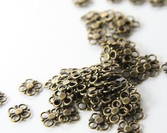 60 Pieces Antique Brass Tone Base Metal Links-Flower 8mm (5083Y-D-153B)