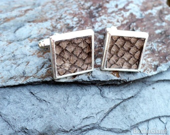 Salmon fish skin square cuff links, brown cuff links,  organic eco-friendly fish leather square cufflinks