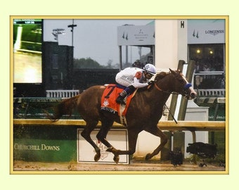 Justify Wins 2018 Kentucky Derby 8x10 Double Matted 5x7 Photo Print  Mike Smith up FLYING to the Finish 1st leg of the Triple Crown