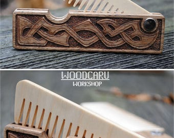 Free personalized pocket comb wooden beard comb folding comb handcrafted comb carved comb beard care gift for boyfriend  men hair comb