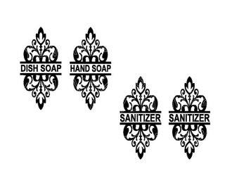 Dish Soap Decal - Dish Soap Dispenser - Hand Soap Dispenser - Hand Sanitizer Decal - Bathroom Decor - Hand Soap Decal - Bathroom Stickers