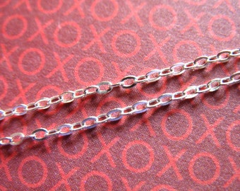 5 10 20 ft, 1.2 mm Sterling Silver Chain, Flat Cable Chain, 1.7x1.2 mm / wholesale sale bulk..ss, s83 hp