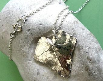 Fine silver ivy leaf necklace