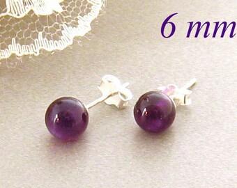 Purple Amethyst Stud Earrings, Purple Round Amethyst Post Earrings, Purple Stud Earrings, February Birthstone, Bridesmaids Gifts