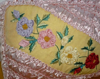 Original Vintage Ribbon Work Embroidered Satin Pillow