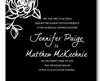 Black and White Rose Wedding Invitation