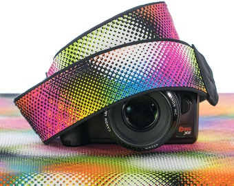 Psychedelic Camera Strap, Retro, dSLR, Mod, Good Vibrations, Pointillism, Rainbow, 163 cw