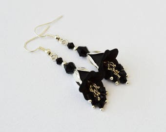 Black Bell Flower Silver Gothic Victorian Earrings