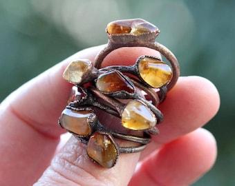 Citrine Ring - Electroformed Stone Ring - November Birthstone - Glossy Stone ring