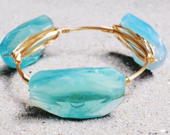 Light Blue Crystal Wire Wrapped Bangle, Bourbon and Boweties Inspired