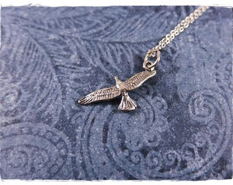 Seagull pendant etsy tiny seagull necklace sterling silver seagull charm on a delicate sterling silver cable chain or mozeypictures Gallery